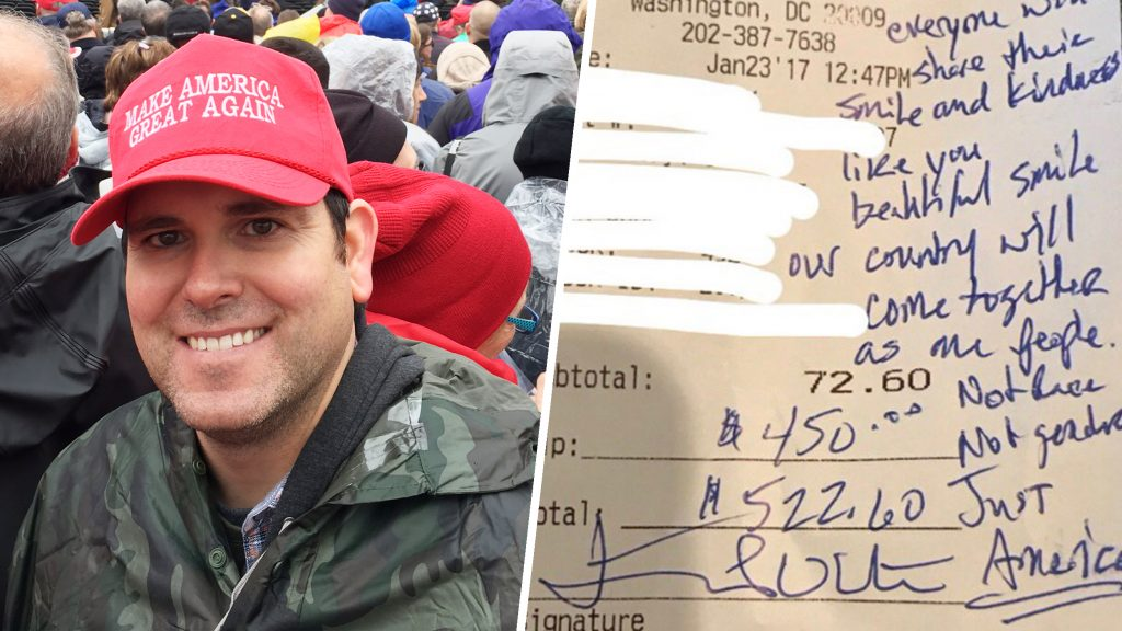 Trump supporter explains $450 tip, note to waitress